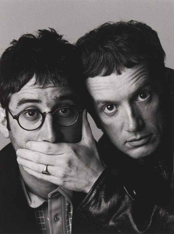 David Baddiel; Frank Skinner, by Trevor Leighton, 1998 - NPG x87552 - © Trevor Leighton / National Portrait Gallery, London