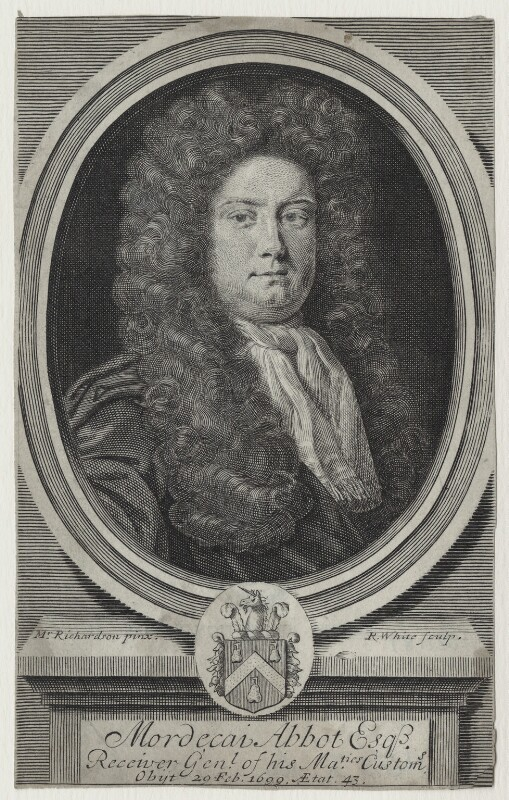 Mordecai Abbot, by Robert White, after  Jonathan Richardson, published 1700 - NPG D31187 - © National Portrait Gallery, London