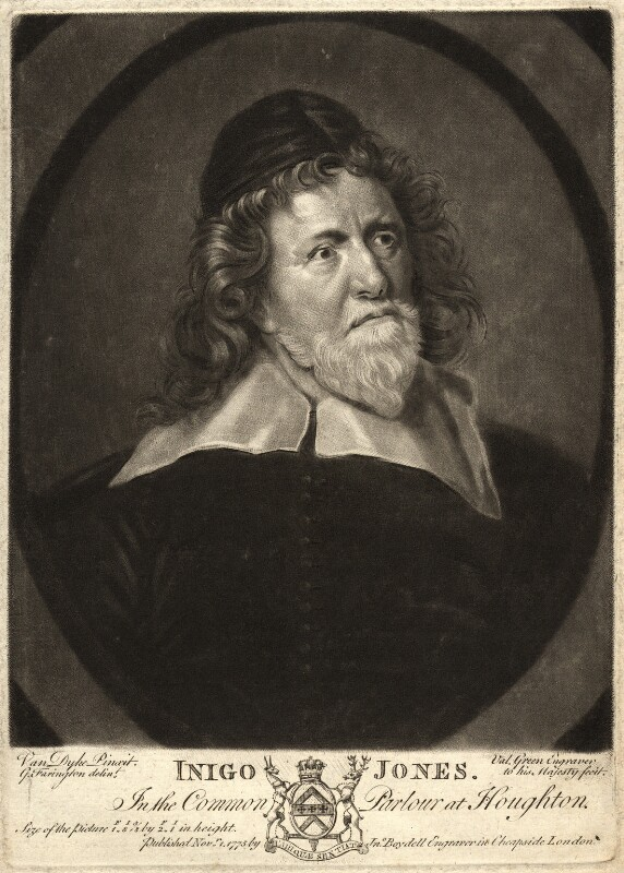 Inigo Jones, by Valentine Green, after  Sir Anthony van Dyck, published 1775 (circa 1632-1635) - NPG D9267 - © National Portrait Gallery, London