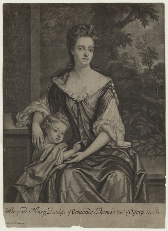 Mary Butler (née Somerset), Duchess of Ormonde and her son Thomas, Earl of Ossory, by Robert Williams, after  Sir Godfrey Kneller, Bt, 1688-1704 - NPG D31317 - © National Portrait Gallery, London