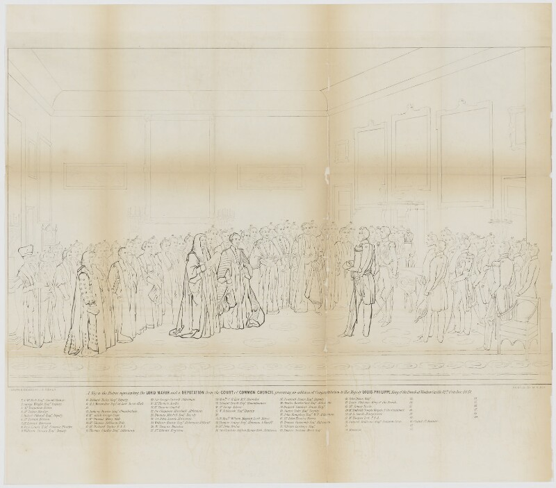 Key to the painting: The Lord Mayor presenting an Address of Congratulation to H.M. Louis-Philippe at Windsor Castle, by J.E. Fisher, after  Jean Alaux, 1847 or after - NPG D33210 - © National Portrait Gallery, London
