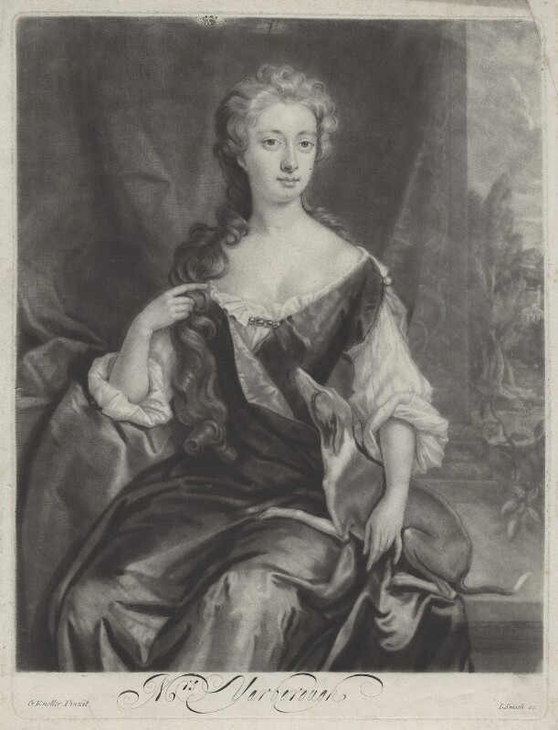Henrietta Maria Wyvill (née Yarborough), Lady Wyvill, by and published by John Smith, after  Sir Godfrey Kneller, Bt, 1681-1688 - NPG D31348 - © National Portrait Gallery, London