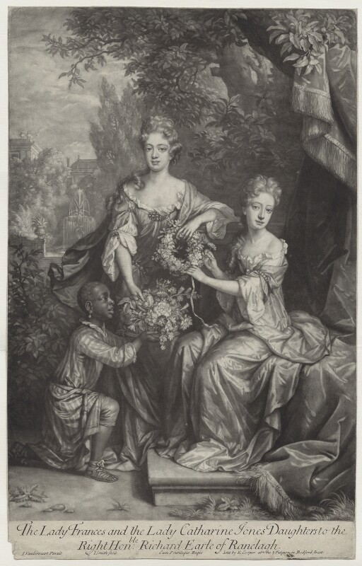 Frances Coningsby (née Jones), Lady Coningsby; Lady Catherine Jones, by John Smith, published by  Edward Cooper, after  Jan van der Vaart, after  Willem Wissing, 1691 - NPG D31354 - © National Portrait Gallery, London