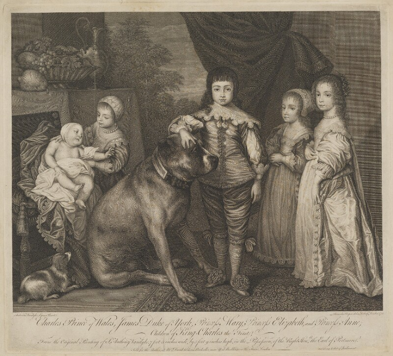Five Children of King Charles I, by Richard Cooper, after  Sir Anthony van Dyck, 1762 (1637) - NPG D32119 - © National Portrait Gallery, London