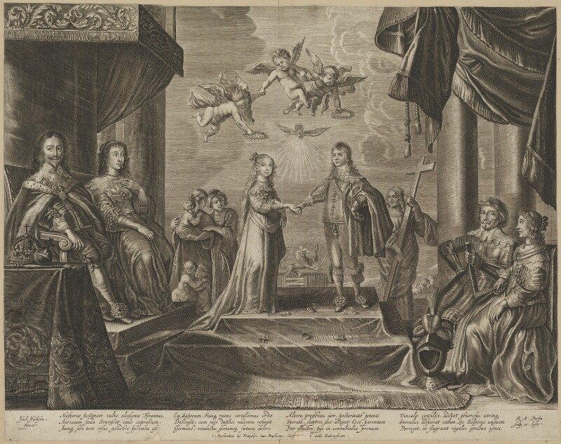 The Marriage of William II of Orange-Nassau and Mary, Princess of Orange, by Renier Persyn, after  Isac Isaacsz (Isacsen), 1640s - NPG D32120 - © National Portrait Gallery, London