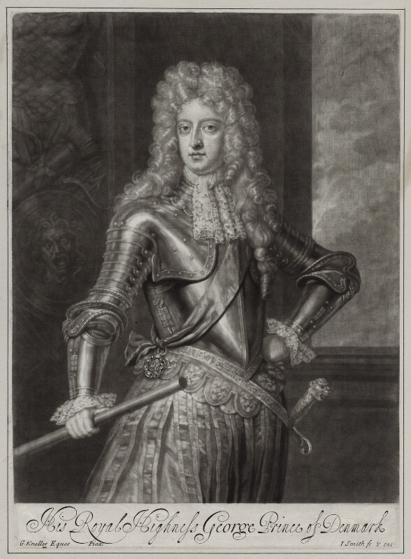 Prince George of Denmark, Duke of Cumberland, by and published by John Smith, after  Sir Godfrey Kneller, Bt, 1692 (circa 1690) - NPG D31372 - © National Portrait Gallery, London