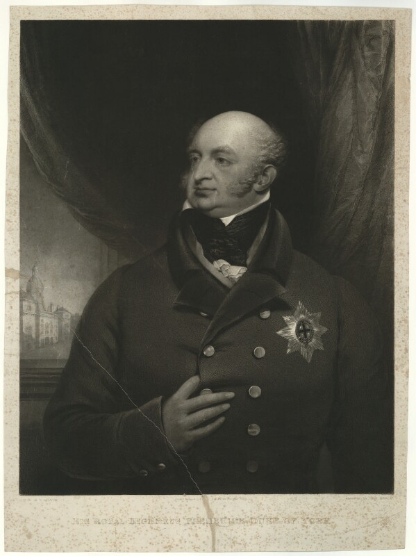 Frederick, Duke of York and Albany, by John Charles Bromley, after  Robert Bowyer, published 1828 (1821) - NPG D33218 - © National Portrait Gallery, London