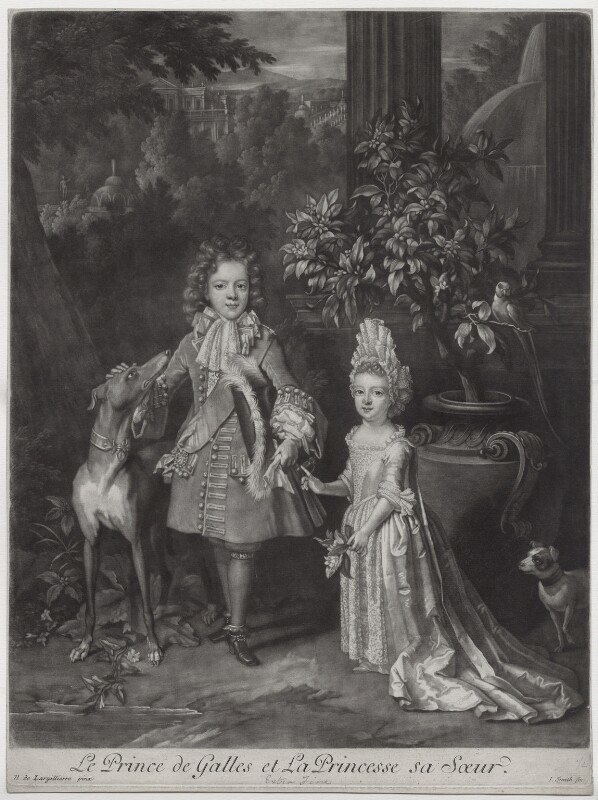 Prince James Francis Edward Stuart; Princess Louisa Maria Theresa Stuart, by and published by John Smith, after  Nicolas de Largillière, 1699 (1695) - NPG D31377 - © National Portrait Gallery, London