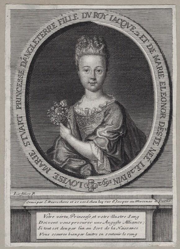 Princess Louisa Maria Theresa Stuart, by Étienne Jehandier Desrochers, after  Nicolas de Largillière, early 18th century - NPG D31383 - © National Portrait Gallery, London