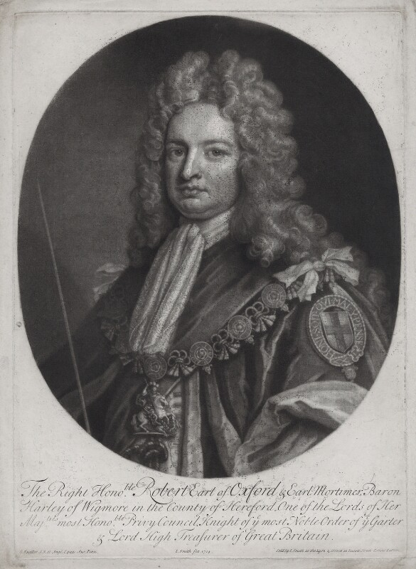 Robert Harley, 1st Earl of Oxford, by and published by John Smith, after  Sir Godfrey Kneller, Bt, 1714 (1714) - NPG D31387 - © National Portrait Gallery, London
