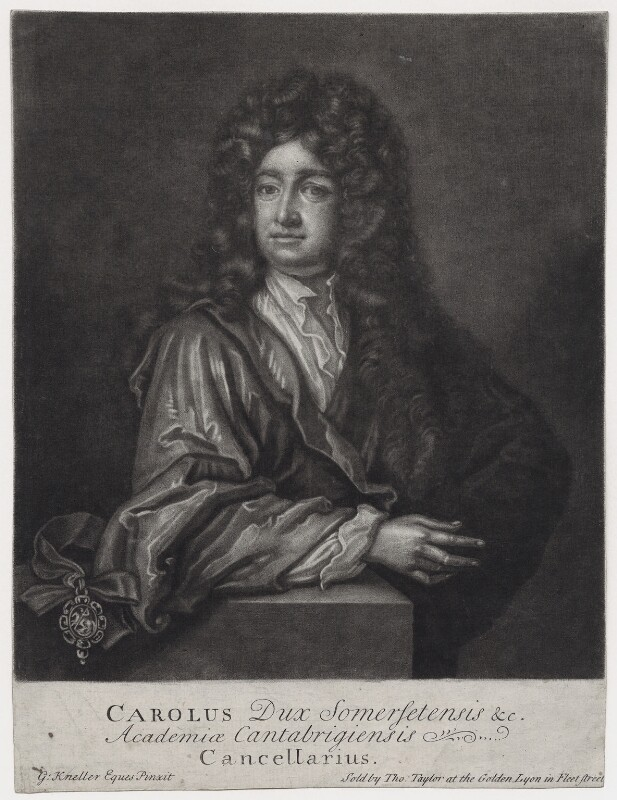 Charles Seymour, 6th Duke of Somerset, by John Faber Sr, sold by  Thomas Taylor, after  Sir Godfrey Kneller, Bt, 1714 (circa 1703) - NPG D31392 - © National Portrait Gallery, London