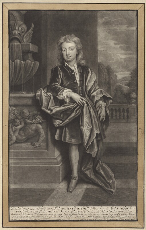 John Churchill, Marquess of Blandford, by and published by John Smith, after  Sir Godfrey Kneller, Bt, 1708 (circa 1695) - NPG D31406 - © National Portrait Gallery, London