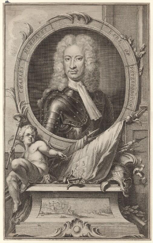 Charles Mordaunt, 3rd Earl of Peterborough, by Jacobus Houbraken, after  Sir Godfrey Kneller, Bt, published by  John & Paul Knapton, circa 1740 - NPG D31408 - © National Portrait Gallery, London