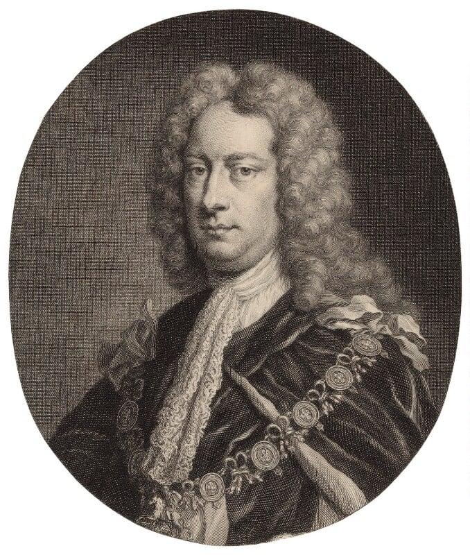 Charles Spencer, 3rd Earl of Sunderland, by Jacobus Houbraken, published by  John & Paul Knapton, possibly after  Sir Godfrey Kneller, Bt, published 1746 - NPG D31409 - © National Portrait Gallery, London