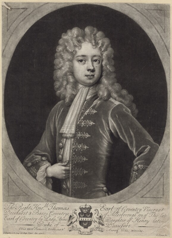 Thomas Coventry, 3rd Earl of Coventry, by John Simon, after  Sir Godfrey Kneller, Bt, early 18th century - NPG D31413 - © National Portrait Gallery, London