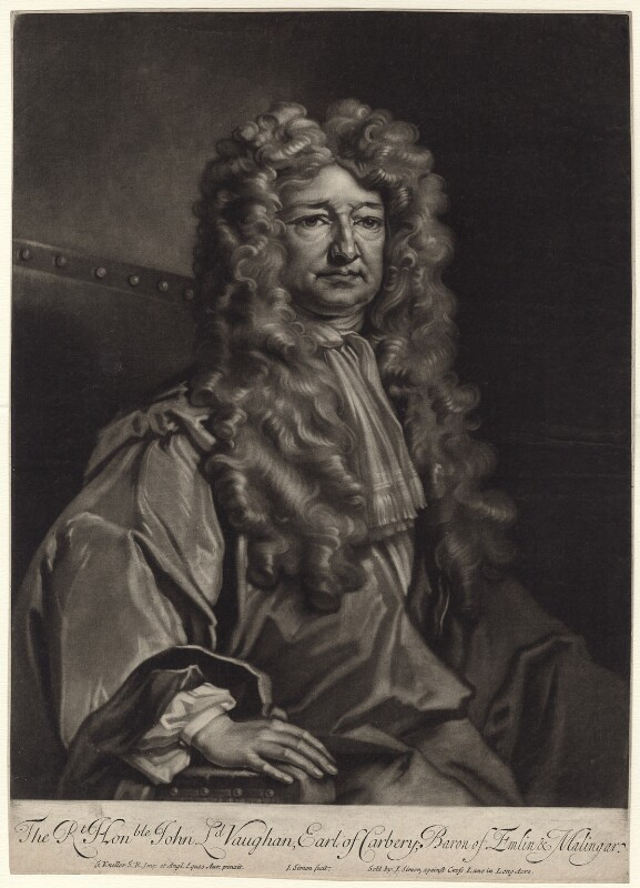John Vaughan, 3rd Earl of Carbery, by and published by John Simon, after  Sir Godfrey Kneller, Bt, early 18th century - NPG D31415 - © National Portrait Gallery, London