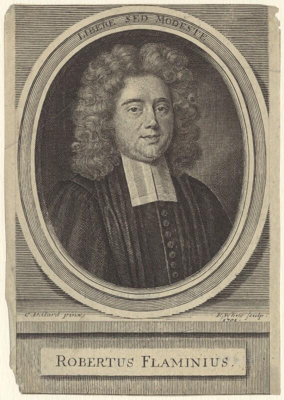 Robertus Flaminius, by Robert White, after  C.D. Gard, 1701 - NPG D31499 - © National Portrait Gallery, London