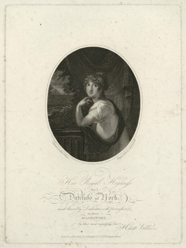 Frederica Charlotte Ulrica Catherina, Duchess of York and Albany, by Luigi Schiavonetti, published by  Colnaghi & Co, after  François Hüet-Villiers, published 1807 - NPG D33228 - © National Portrait Gallery, London