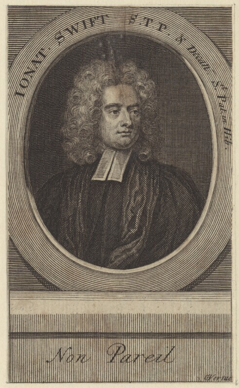 Jonathan Swift, by George Vertue, after  Charles Jervas, early 18th century - NPG D31514 - © National Portrait Gallery, London