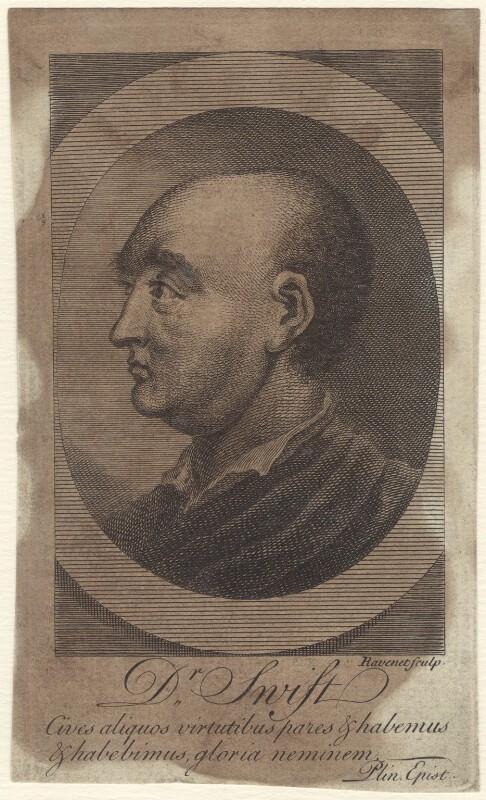 Jonathan Swift, by Simon François Ravenet, after  Thomas Barber, published 1752 - NPG D31518 - © National Portrait Gallery, London