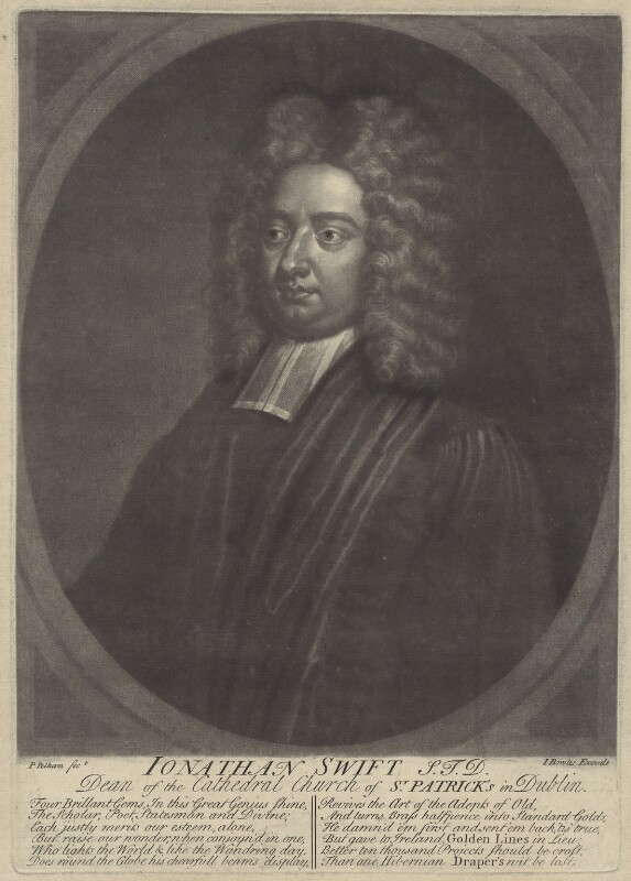 Jonathan Swift, by Peter Pelham, published by  John Bowles, early to mid 18th century - NPG D31519 - © National Portrait Gallery, London