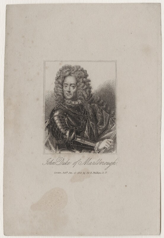 John Churchill, 1st Duke of Marlborough, published by Sir Richard Phillips, after  Adriaen van der Werff, published 15 January 1823 - NPG D31539 - © National Portrait Gallery, London