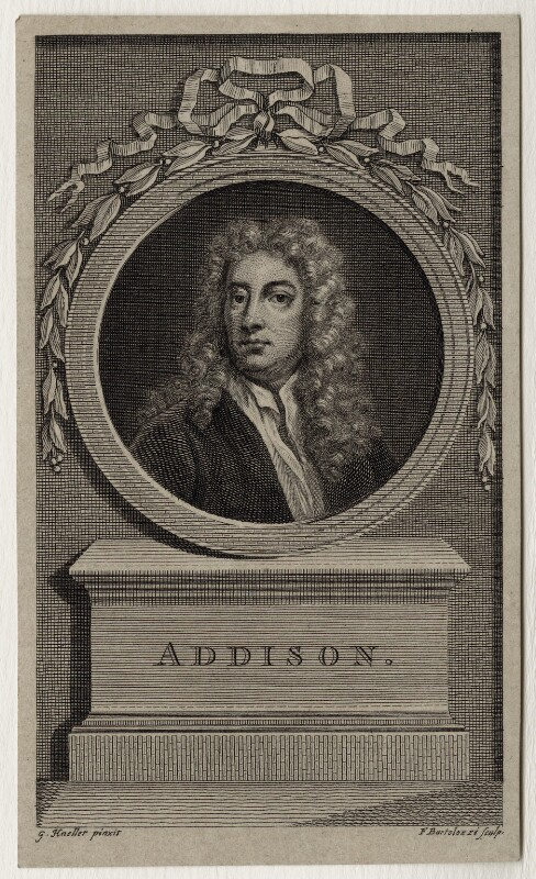 Joseph Addison, by Francesco Bartolozzi, after  Sir Godfrey Kneller, Bt, late 18th century - NPG D27301 - © National Portrait Gallery, London