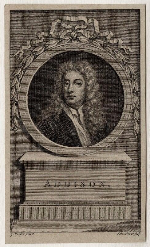 Joseph Addison, by Francesco Bartolozzi, after  Sir Godfrey Kneller, Bt, late 18th century - NPG D27301 - © National Portrait Gallery, London