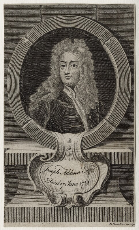 Joseph Addison, by Edward Rooker, after  Sir Godfrey Kneller, Bt, mid 18th century - NPG D27304 - © National Portrait Gallery, London