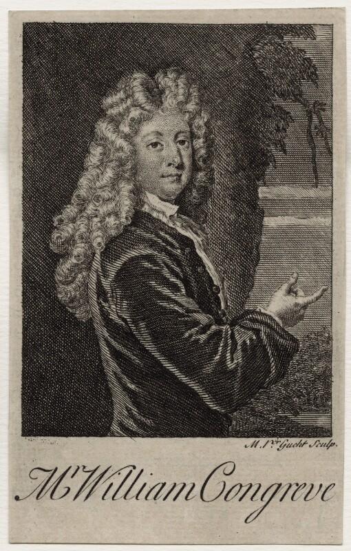 William Congreve, by Michael Vandergucht, after  Sir Godfrey Kneller, Bt, published 1718 (1709) - NPG D27306 - © National Portrait Gallery, London