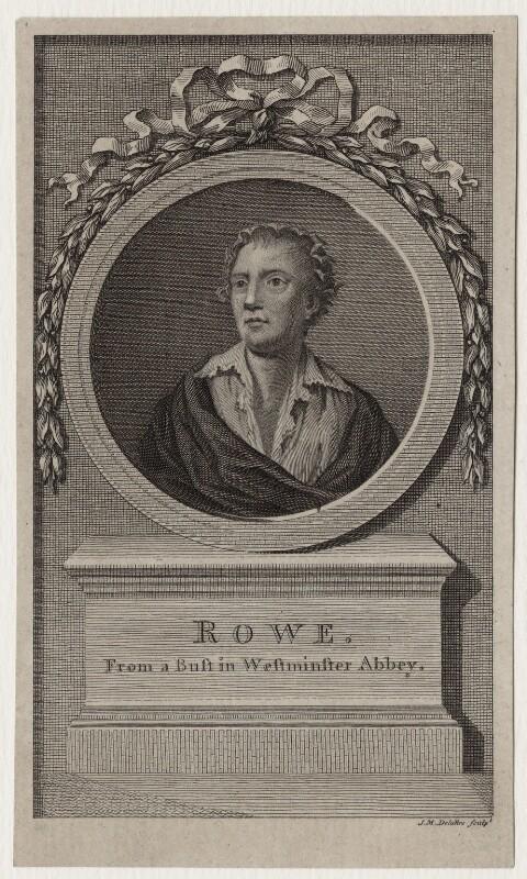 Nicholas Rowe, by Jean Marie Delattre, after  John Michael Rysbrack, published 1779 - NPG D27314 - © National Portrait Gallery, London