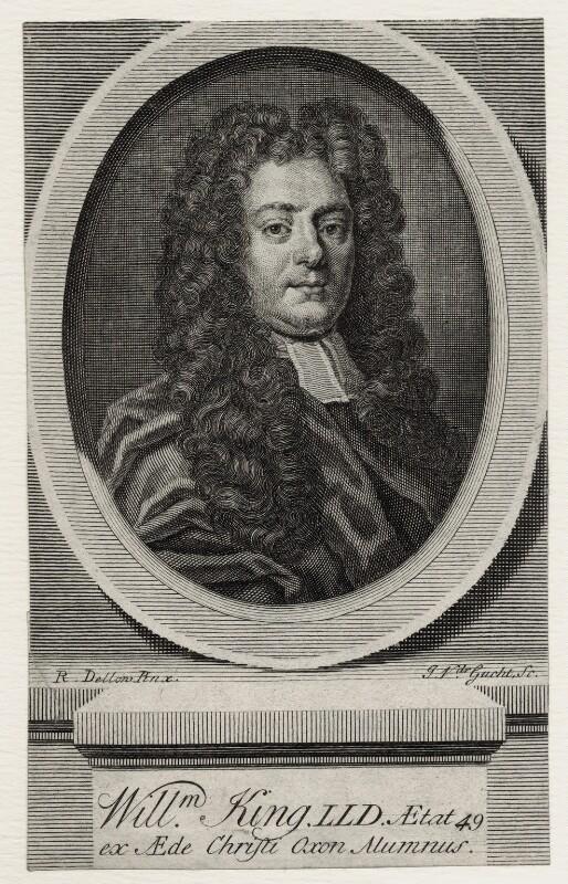 William King, by John Vandergucht, after  Robert Dellow, published 1734 - NPG D27318 - © National Portrait Gallery, London