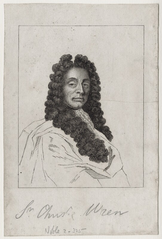 Sir Christopher Wren, after Sir Godfrey Kneller, Bt, late 18th to early 19th century - NPG D27347 - © National Portrait Gallery, London