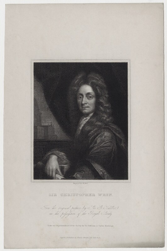 Sir Christopher Wren, by William Holl Sr, or by  William Holl Jr, after  Sir Godfrey Kneller, Bt, early 19th century - NPG D27348 - © National Portrait Gallery, London