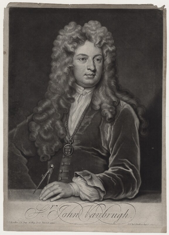 Sir John Vanbrugh, by and published by John Smith, after  Sir Godfrey Kneller, Bt, circa 1715 - NPG D27350 - © National Portrait Gallery, London