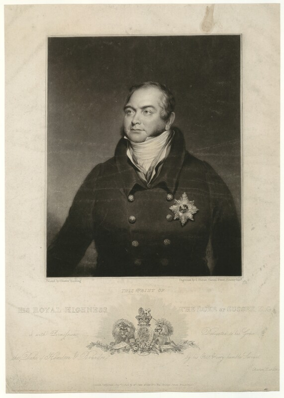 Prince Augustus Frederick, Duke of Sussex, by Charles Turner, published by  John Miller, after  Chester Harding, published 1825 - NPG D33233 - © National Portrait Gallery, London