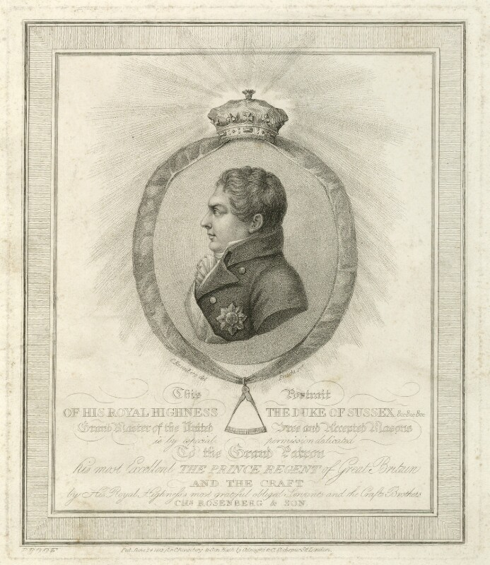 Prince Augustus Frederick, Duke of Sussex, by Andrea Freschi, published by  Colnaghi & Co, after  Charles or Carl or Christian Rosenberg, published 24 June 1813 - NPG D33235 - © National Portrait Gallery, London