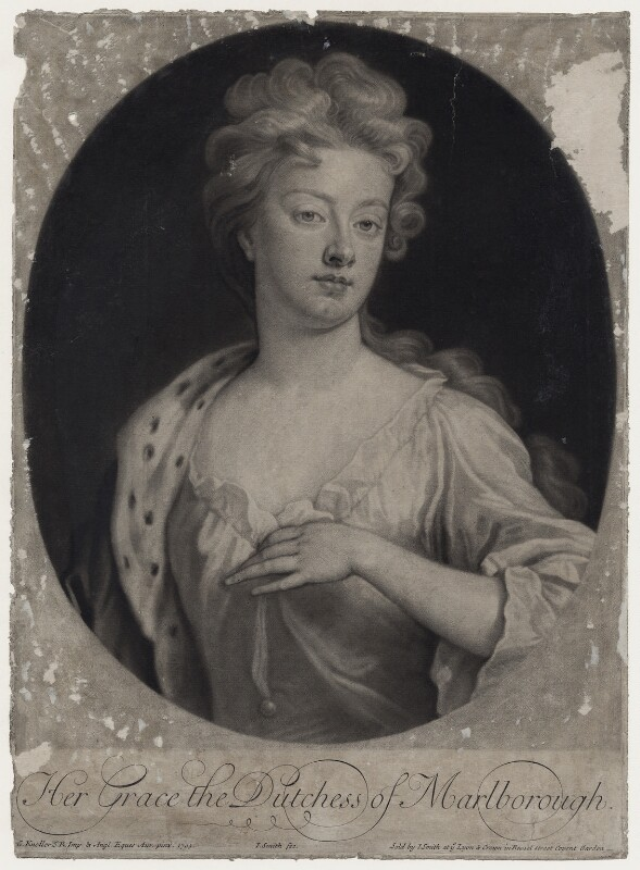 Sarah Churchill (née Jenyns (Jennings)), Duchess of Marlborough, by and published by John Smith, after  Sir Godfrey Kneller, Bt, 1705 (1705) - NPG D27368 - © National Portrait Gallery, London