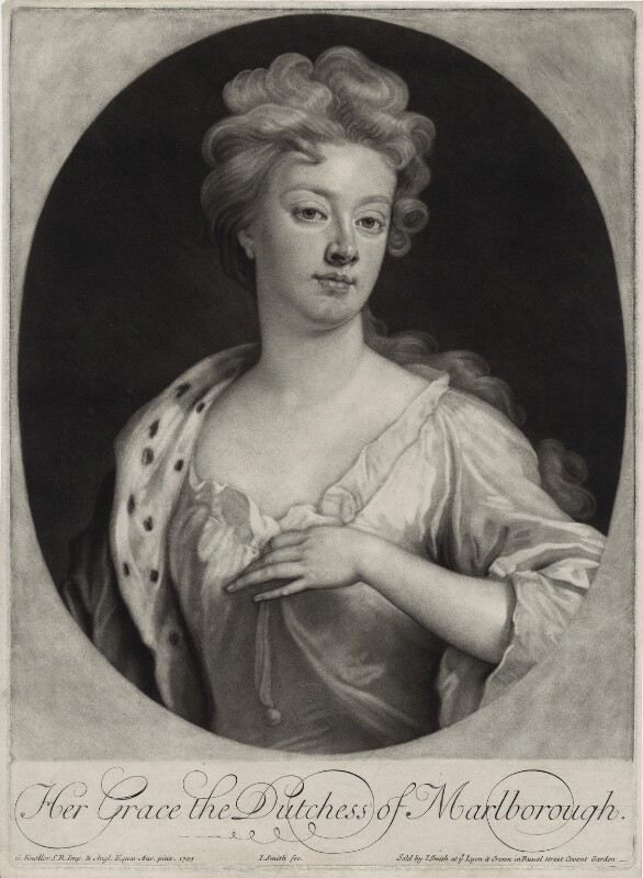 Sarah Churchill (née Jenyns (Jennings)), Duchess of Marlborough, by and published by John Smith, after  Sir Godfrey Kneller, Bt, 1705 (1705) - NPG D27373 - © National Portrait Gallery, London