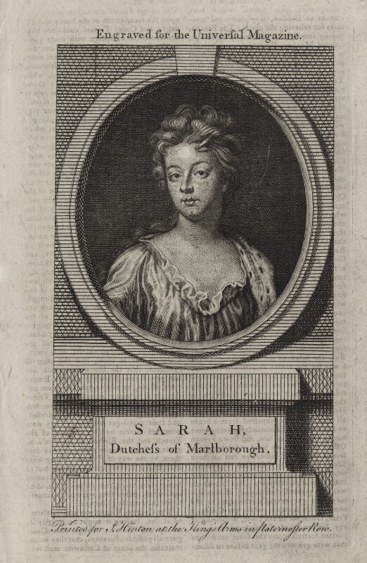 Sarah Churchill (née Jenyns (Jennings)), Duchess of Marlborough, after Sir Godfrey Kneller, Bt, published by  John Hinton, mid 18th century - NPG D27377 - © National Portrait Gallery, London