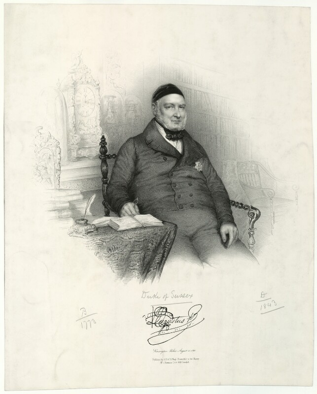 Prince Augustus Frederick, Duke of Sussex, by Émile Desmaisons, 1841 - NPG D33240 - © National Portrait Gallery, London