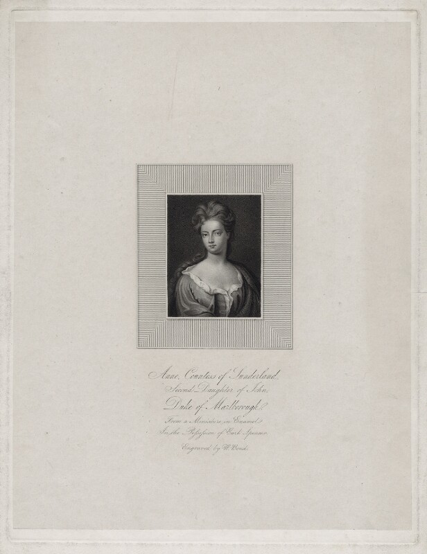Anne Spencer (née Churchill), Countess of Sunderland, by William Bond, after  Sir Godfrey Kneller, Bt, late 18th to early 19th century - NPG D27384 - © National Portrait Gallery, London