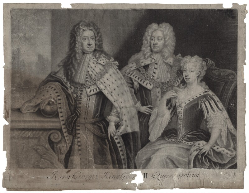 King George I; King George II; Princess Caroline Elizabeth, by and published by John Simon, after  Unknown artist, mid 18th century - NPG D27409 - © National Portrait Gallery, London