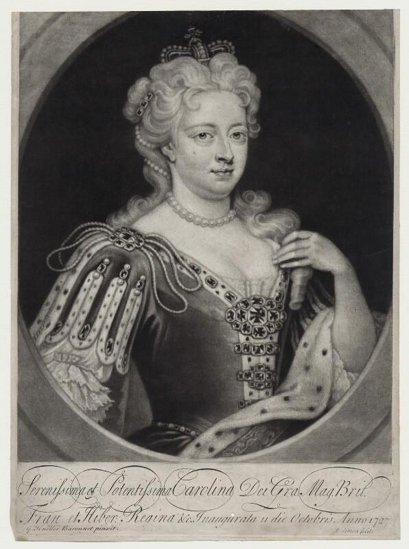 Caroline Wilhelmina of Brandenburg-Ansbach, by John Simon, after  Sir Godfrey Kneller, Bt, (1716) - NPG D27415 - © National Portrait Gallery, London