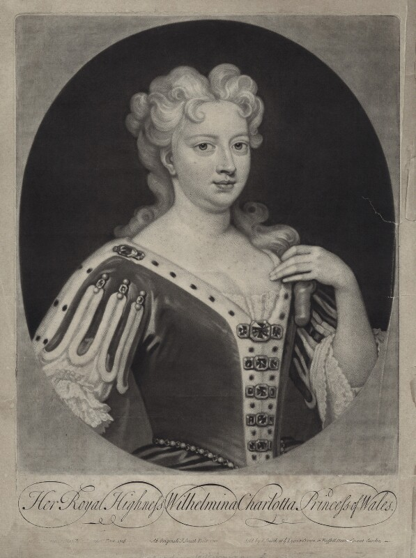 Caroline Wilhelmina of Brandenburg-Ansbach, by and published by John Smith, after  Sir Godfrey Kneller, Bt, 1717 (1716) - NPG D27416 - © National Portrait Gallery, London