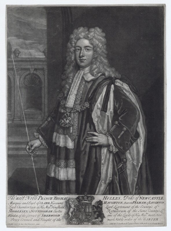 Thomas Pelham-Holles, 1st Duke of Newcastle-under-Lyne, by John Faber Jr, after  Sir Godfrey Kneller, Bt, published by  John Smith, early to mid 18th century - NPG D27425 - © National Portrait Gallery, London