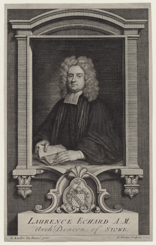 Laurence Echard, by George Vertue, after  Sir Godfrey Kneller, Bt, published 1720 - NPG D27460 - © National Portrait Gallery, London