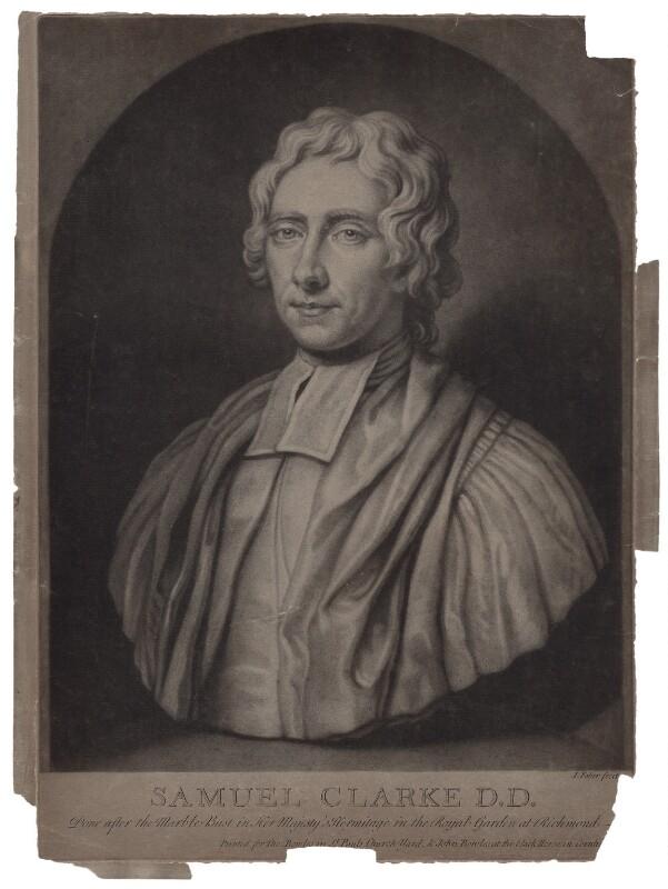 Samuel Clarke, by John Faber Jr, after  Unknown artist, circa 1725-1750 - NPG D27467 - © National Portrait Gallery, London