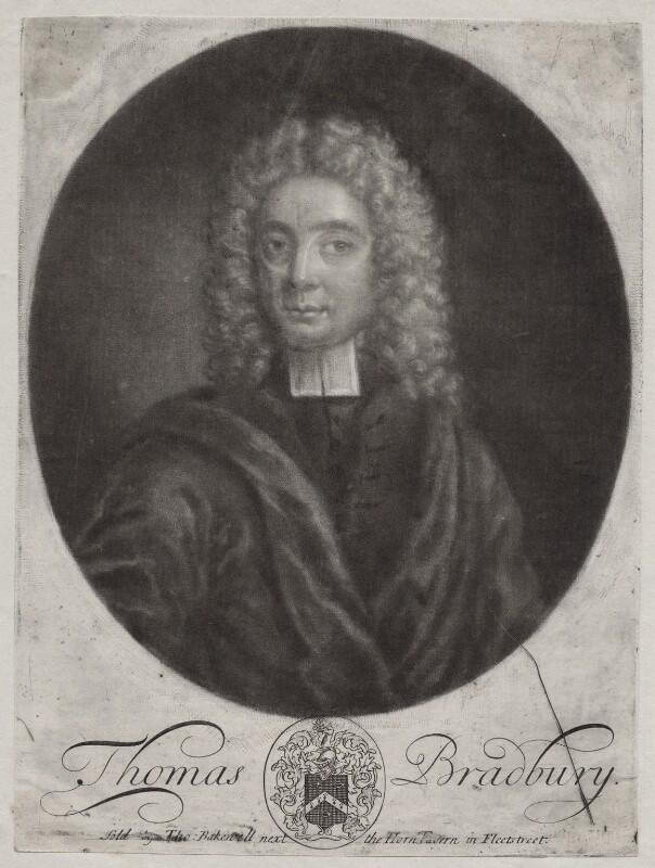Thomas Bradbury, by John Faber Sr, published by  Thomas Bakewell, circa 1711-1716 - NPG D27501 - © National Portrait Gallery, London