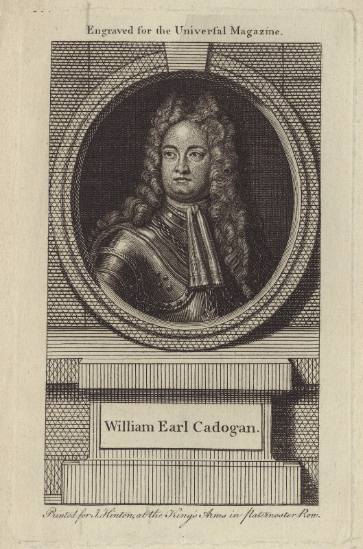 William Cadogan, 1st Earl Cadogan, after Louis Laguerre, published by  John Hinton, mid 18th century - NPG D27522 - © National Portrait Gallery, London